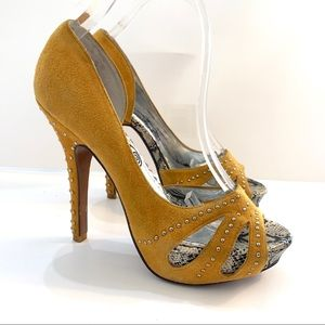 Naughty Monkey Mustard Yellow D'Orsay Suede Pumps